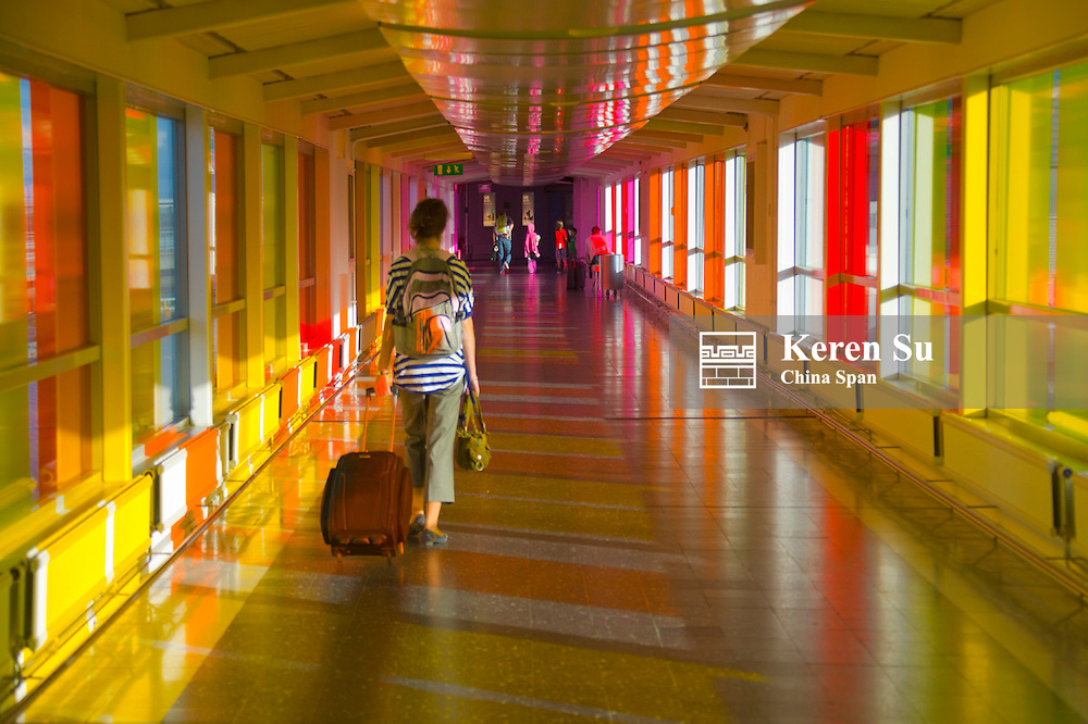 Colorful light at the airport, Stockholm, Sweden