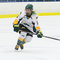 4th year defender Nikki Watters-Matthes (14) of the Regina Cougars in action during the Women's Hockey Home Game on October 15 at Co-operators arena. Credit: Arthur Ward/Arthur Images