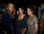 JERRY HALL; TRACEY EMIN; NANCY DELL D'OLIO, Cloak and Dagger, - Amanda Eliasch - book launch - Entertainment by Miss Polly Rae and her Hurly Burly girls. <br />
