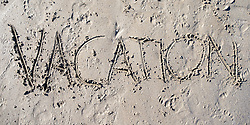 "SYMBOLBILD - der Schriftzug ""Vacation"" in Sand geschrieben, aufgenommen am 23.08.2015 in Caorle, Italien // the lettering ""Vacation"" written in sand in Caorle, Italia on 2015/08/23. EXPA Pictures © 2015, PhotoCredit: EXPA/ Jakob Gruber"