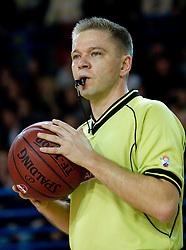 Referee Damir Javor during basketball match between KK Union Olimpija and KK Krka in 3rd Quarterfinal of Spar Slovenian Cup, on February 11, 2011 in Sportna dvorana Poden, Skofja Loka, Slovenia. (Photo By Vid Ponikvar / Sportida.com)