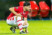 ALKMAAR - 16-02-2017, AZ - Olympique Lyon, AFAS Stadion, teleurstelling, AZ speler Alireza Jahanbakhsh