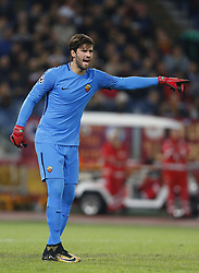 October 31, 2017 - Rome, Italy - Rome, Italy - 31/10/2017..Alisson Becker of Roma during their UEFA Champions League Group C soccer match against Chelsea at the Olympic stadium in Rome..UEFA Champions League Group C soccer match between AS Roma and Chelsea FC at the Olympic stadium in Rome. AS Roma defeating Chelsea FC 3-0. (Credit Image: © Giampiero Sposito/Pacific Press via ZUMA Wire)