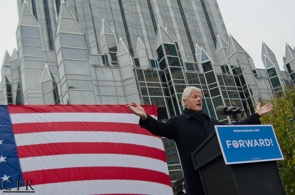 President William Jefferson Clinton stumps for the re-election of President Barack Obama during a campaign stop in Pittsburgh during the 2012 election season.