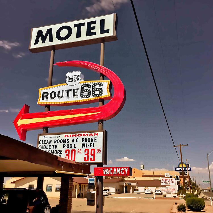 Retro motel street sign in USA