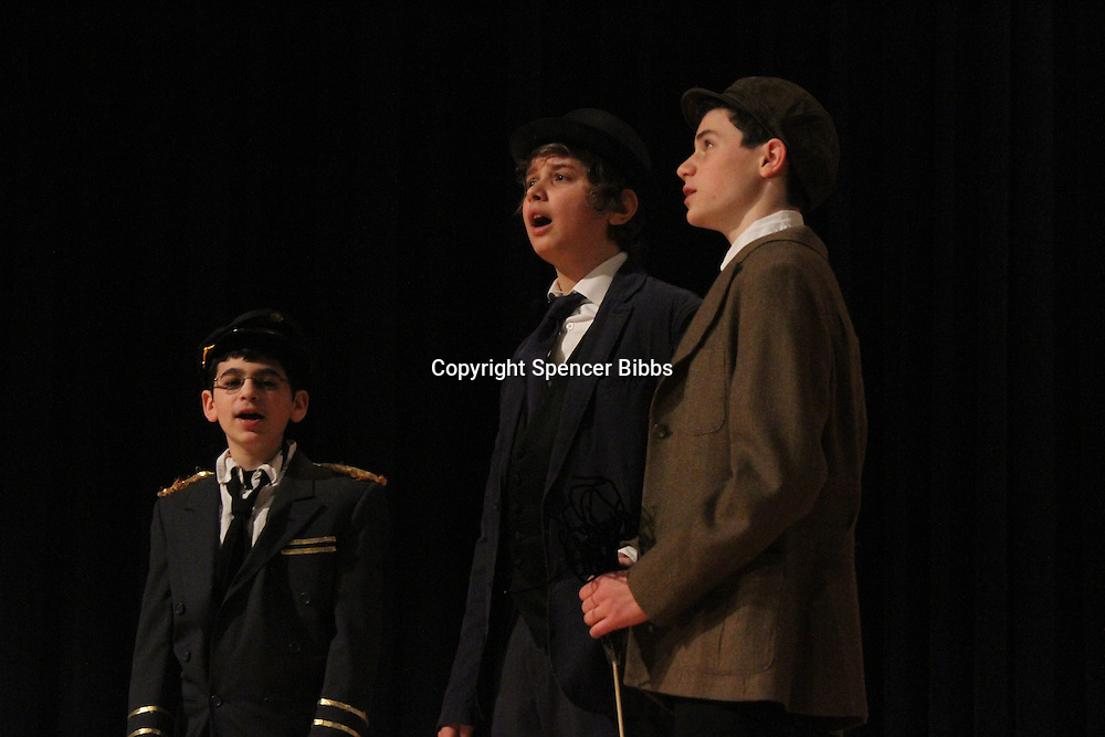 The Akiba Shechechter Middle School performed a dress rehearsal of the musical, Mary Poppins this past Friday to prepare for their Sunday afternoon performance at Kenwood Academy located at 51st and Lake Park.<br /> <br /> 0911 &ndash; Gavi Levi, Liam Jankelovics and Jacky Taylor performed.