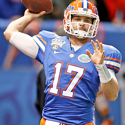 Jan 2, 2013; New Orleans, LA, USA; Florida Gators quarterback Skyler Mornhinweg (17) throws before  the Sugar Bowl against the Louisville Cardinals at the Mercedes-Benz Superdome. Louisville defeated Florida 33-23. Mandatory Credit: Derick E. Hingle-USA TODAY Sports