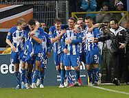UEFA Europa League.Lech Poznan v Manchester City.4th November 2010.Mateusz Mozdzen with his teammates celebrate a goal for Lech Poznan ..Photo by: Piotr Hawalej / WROFOTO