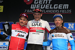 Alexander Kristoff (NOR) UAE Team Emirates wins with John Degenkolb (GER) Trek-Segafredo 2nd and Oliver Naesen (BEL) AG2R La Mondiale in 3rd place at the end of the 2019 Gent-Wevelgem in Flanders Fields running 252km from Deinze to Wevelgem, Belgium. 31st March 2019.<br /> Picture: Eoin Clarke | Cyclefile<br /> <br /> All photos usage must carry mandatory copyright credit (&copy; Cyclefile | Eoin Clarke)