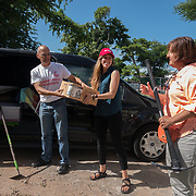 AUGUST 27, 2018--VIEQUES---PUERTO RICO--<br /> Helen Wilson and Maximiliano Ramery, from Mercy Corps, with supplies delivered to VER Community Center's Hilda Bonilla.<br /> (Photo by Angel Valentin/Freelance)