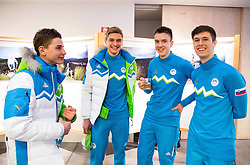 Matevz Malovrh, Nace Znidarsic, Luka Naglic, Rok Kenda during presentation of Slovenian Young Athletes before departure to EYOF (European Youth Olympic Festival) in Vorarlberg and Liechtenstein, on January 21, 2015 in Bled, Slovenia. Photo by Vid Ponikvar / Sportida