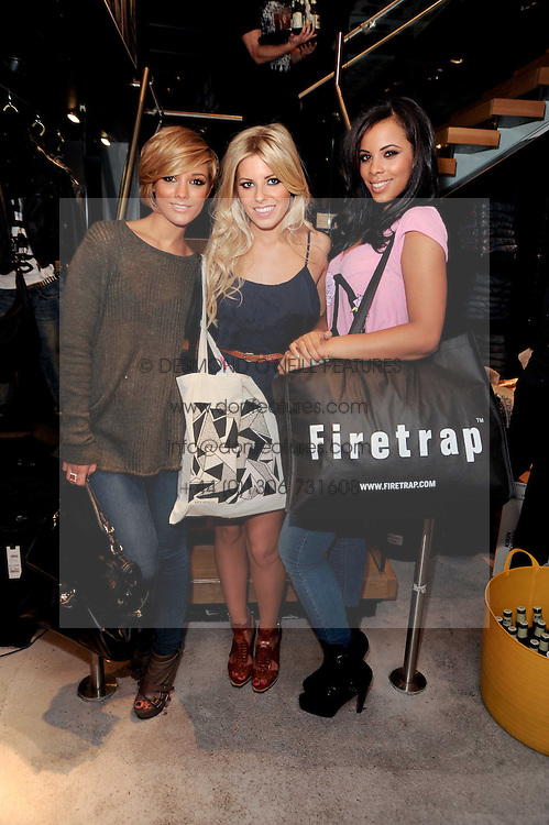 Left to right, FRANKIE SANDFORD, MOLLIE KING and ROCHELLE WISEMAN at a party to celebrate the Firetrap Watches and Kate Moross Collaboration Launch, held at Firetrap, 21 Earlham Street, London, UK on 13th October 2010.