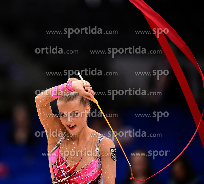 09.09.2015, Porsche Arena, Stuttgart, GER, Gymnastik WM, im Bild Laura Jung (GER) Band // during the World Rhythmic Gymnastics Championships at the Porsche Arena in Stuttgart, Germany on 2015/09/09. EXPA Pictures &copy; 2015, PhotoCredit: EXPA/ Eibner-Pressefoto/ Weber<br /> <br /> *****ATTENTION - OUT of GER*****