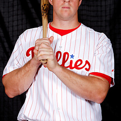 February 22, 2011; Clearwater, FL, USA;\p catcher Erik Kratz (85) poses during photo day at Bright House Networks Field. Mandatory Credit: Derick E. Hingle