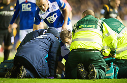 BIRMINGHAM, ENGLAND - Sunday, November 1, 2009: Birmingham City's Roger Johnson is given oxygen by paramedics during the Premiership match against Manchester City at St Andrews. (Pic by David Rawcliffe/Propaganda)