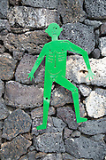 Male figure toilet sign, Fundación César Manrique, Taro de Tahíche, Lanzarote, Canary islands, Spain