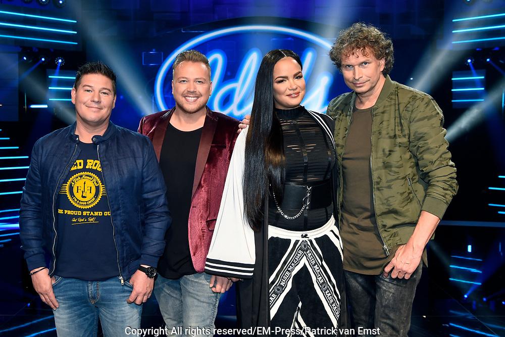 Halve finale van Idols 2017 <br /> <br /> op de foto:   De jury, bestaande uit Martijn Krabb&eacute;, Jamai Loman, Eva Simons en Ronald Molendijk