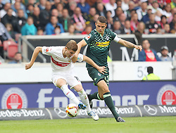 26.09.2015, Mercedes Benz Arena, Stuttgart, GER, 1. FBL, VfB Stuttgart vs Borussia Moenchengladbach, 7. Runde, im Bild Timo Werner ( VfB Stuttgart ) rechts Granit Xhaka ( Borussia Moenchengladbach ) // during the German Bundesliga 7th round match between VfB Stuttgart and Borussia Moenchengladbach at the Mercedes Benz Arena in Stuttgart, Germany on 2015/09/26. EXPA Pictures © 2015, PhotoCredit: EXPA/ Eibner-Pressefoto/ Langer<br /> <br /> *****ATTENTION - OUT of GER*****