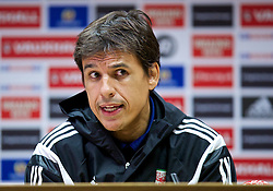CARDIFF, WALES - Thursday, October 9, 2014: Wales' manager Chris Coleman during a press conference at the Cardiff City Stadium ahead of the UEFA Euro 2016 qualifying match against Bosnia and Herzegovina. (Pic by David Rawcliffe/Propaganda)