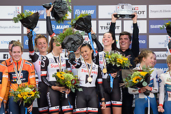 Coryn Rivera waves to the crowds after winning the UCI Road World Championships Women's Team Time Trial 2017 a 42.5 km team time trial in Bergen, Norway on September 17, 2017. (Photo by Sean Robinson/Velofocus)