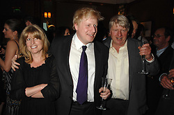 Left to right, RACHEL JOHNSON, BORIS JOHNSON and their father STANLEY JOHNSON at a party to celebrate the 180th Anniversary of The Spectator magazine, held at the Hyatt Regency London - The Churchill, 30 Portman Square, London on 7th May 2008.<br />
