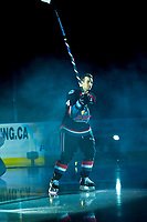 KELOWNA, CANADA - SEPTEMBER 22: Gordie Ballhorn #4 of the Kelowna Rockets enters the ice for home opener against the Kamloops Blazers on September 22, 2017 at Prospera Place in Kelowna, British Columbia, Canada.  (Photo by Marissa Baecker/Shoot the Breeze)  *** Local Caption ***
