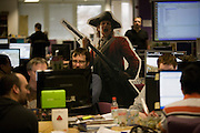 Creatives and gaming designers put the finishing touches to Empire at Creative Assembly, the PC gaming brand Total War 's Horsham offices in West Sussex, England. .Up to 65 designers, artists and animators have worked on Empire: Total War (about the formation of the United States - the road to independence) for 3 1/2 years. Historical accuracy is such that research into weaponry, ships and events is as realistic as possible with the employment of historians with PHDs and degrees. (Note to editors: High-resolution screen grabs of Empire are in the possession of writer Nina Ernst).
