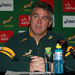 CARDIFF, WALES - NOVEMBER 26: Heyneke Meyer (Head Coach) of South Africa during the South African national rugby team announcement at Hilton Hotel on November 26, 2014 in Cardiff, Wales. (Photo by Steve Haag/Gallo Images)