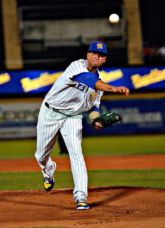 January 2, 2018 - Valencia, Carabobo - January 2, 2018.  Alex Sanabia, open pitcher for the Navegantes del Magallanes In the first game of the professional baseball playoff of Venezuela, between Caribes de Anzoategui and Navegantes del Magallanes, held at the Jose Bernardo Perez stadium in the city of Valencia, Carabobo state. Venezuela. Photo: Juan Carlos Hernandez (Credit Image: © Juan Carlos Hernandez via ZUMA Wire)