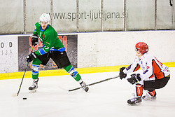Petek Nik of HK SZ Olimpija during Hockey match between SZ HD Olimpija and HDD Jesenice in 4tht match of Quarterfinals of Alps Hockey League, on March 13, 2018 in Hala Tivoli, Ljubljana, Slovenia. Photo by Ziga Zupan / Sportida