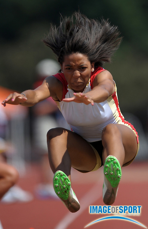 Jun 16, 2012; Bloomington, IN, USA; Kendell Williams of Kell High places fourth in the womens long jump at 19-10 3/4 (6.06m) in the 2012 USA Junior Championships at the Robert C. Haugh Track & Field Complex at the University of Indiana.