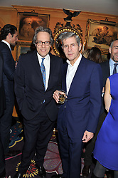 Left to right, the EARL OF MARCH and SIR STUART ROSE at the Johnnie Walker Blue Label and David Gandy partnership launch party held at Annabel's, 44 Berkeley Square, London on 5th February 2013.