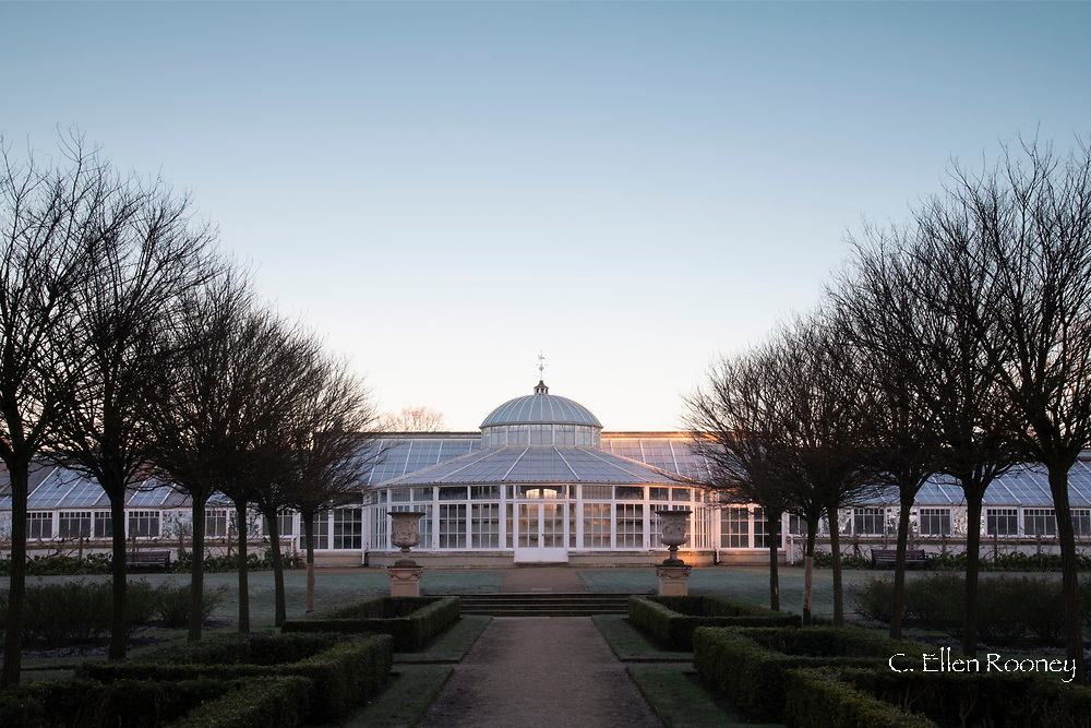 The conservatory and Italian Garden at sunrise at Chiswick House, Chiswick, London, UK