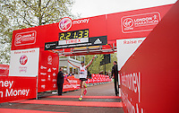 El Amin Chentouf of Morocco crosses the line to finish first in the IPC Athletics Marathon World Championships T11/12 race at the Virgin Money London Marathon, Sunday 26th April 2015.<br /> <br /> Scott Heavey for Virgin Money London Marathon<br /> <br /> For more information please contact Penny Dain at pennyd@london-marathon.co.uk