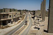 Asia, Syria, Golan. A main road running through the now deserted town of Qunytirah, in the buffer zone between Syria and Israel.