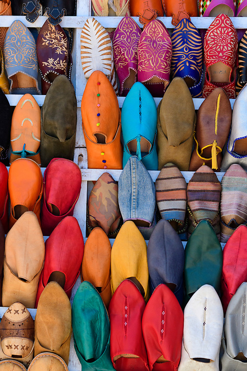 Africa, Maghreb, Morocco, Marrakesh, Medina, Souk, Babooshes in the market