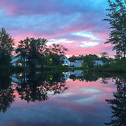 Conway Village from Pequawket Pond at sunset in late June