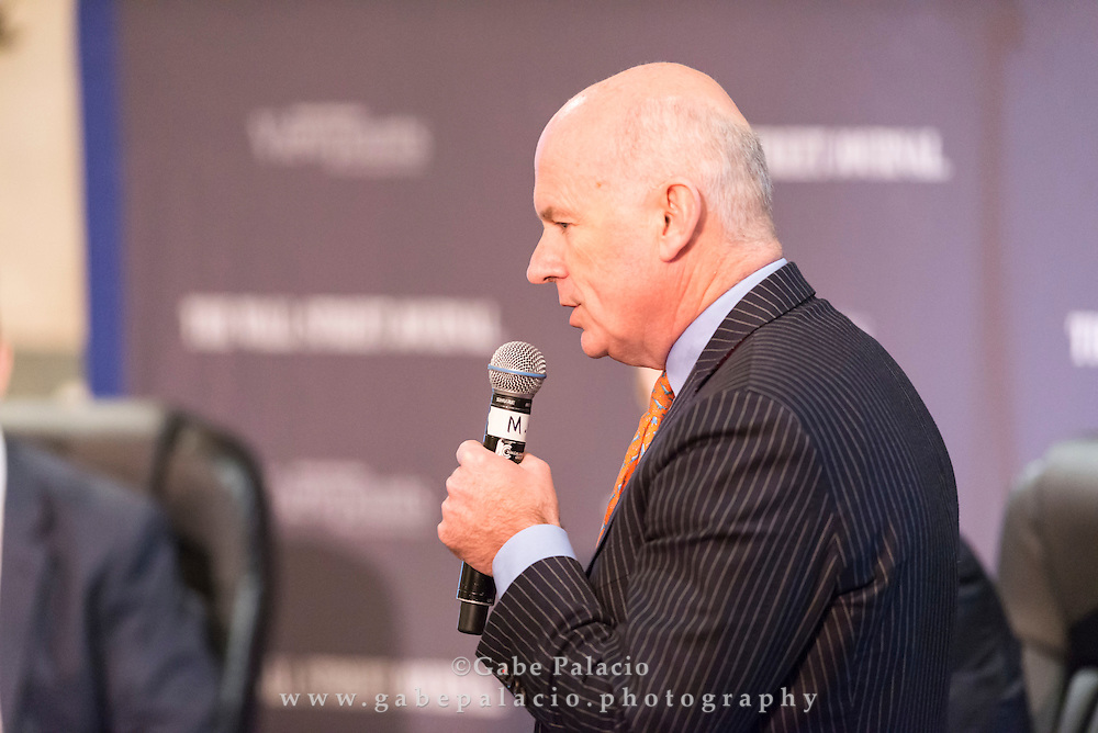 Gerard Baker, Editor in Chief of  The Wall Street Journal, gives the closing remarks  to the Viewpoints Executive Breakfast Series featuring John T. Chambers, Chairman and CEO of Cisco in New York City on September 24, 2014. (photo by Gabe Palacio)