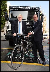 The Mayor of London Boris Johnson and Transport Minister Stephen Hammond unveils plans to tackle HGV-cycle safety in capital, London, United Kingdom. Wednesday, 4th September 2013. Picture by Andrew Parsons / i-Images