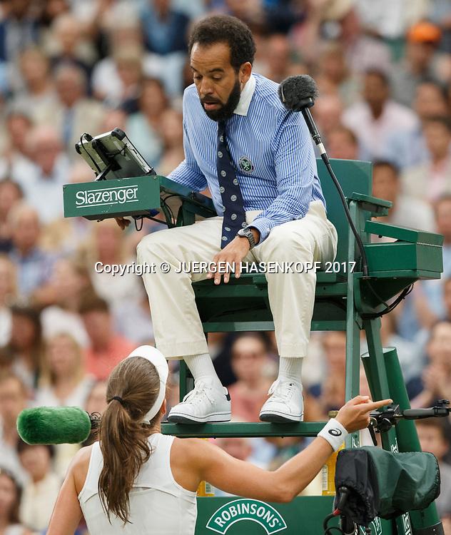 JOHANNA KONTA (GBR) diskutiert mit Stuhlschiedsrichter Kader Nouni<br /> <br /> Tennis - Wimbledon 2017 - Grand Slam ITF / ATP / WTA -  AELTC - London -  - Great Britain  - 11 July 2017.