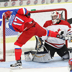 COBOURG, - Dec 19, 2015 -  Gold Metal Game - Russia vs Canada West at the 2015 World Junior A Challenge at the Cobourg Community Centre, ON. Matthew Murray #31 of Team Canada West makes the save during the second period.(Photo: Tim Bates / OJHL Images)