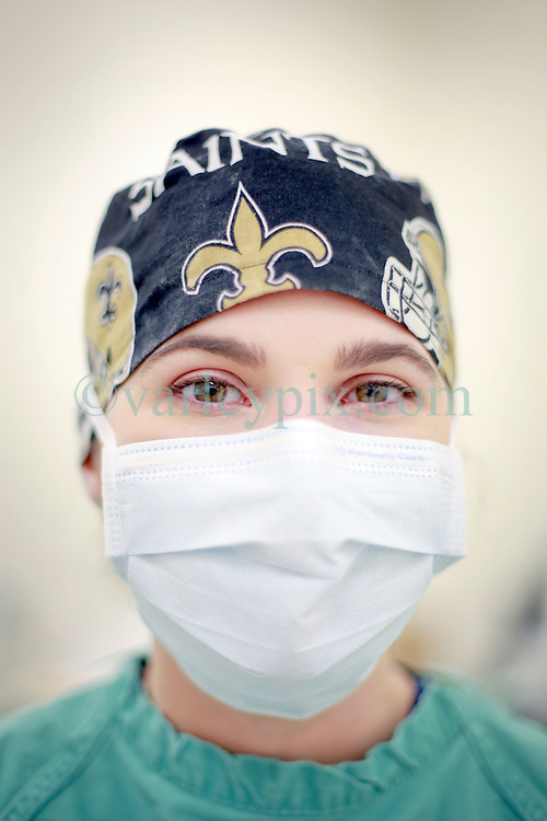 14 January 2014. New Orleans, Louisiana.<br /> Lakeview Veterinary Hospital Inc. <br /> Dr Clare Guichard preps for surgery.<br /> Photo Credit; Charlie Varley/varleypix.com