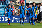 Gillingham FC forward Brandon Hanlan (7) (left) congratulated by Gillingham FC midfielder Mark Byrne (33) after scoring a goal (3-1) during the EFL Sky Bet League 1 match between Gillingham and Plymouth Argyle at the MEMS Priestfield Stadium, Gillingham, England on 19 April 2019.