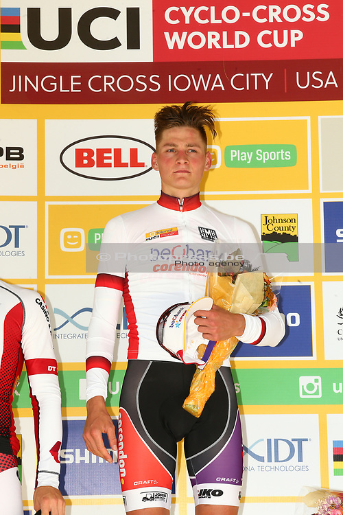 USA / VS / AMERIKA / IOWA CITY / CYCLOCROSS / VELDRIJDEN / CYCLO CROSS / CX / JINGLE CROSS IOWA CITY / TELENET WORLD CUP / #1 / MEN / PODIUM / CEREMONIE / HULDIGING / MATHIEU VAN DER POEL (NED - BEOBANK - CORENDON) / <br /> <br /> PUBLICATION IN BELGIAN NEWSPAPERS iS NOT ALLOWED