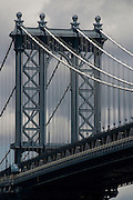 A close up of the Manhattan Bridge as viewed from the south east, in Brooklyn, New York City.