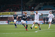 3rd February 2018, Dens Park, Dundee, Scotland; Scottish Premier League football, Dundee versus Ross County; Simon Murray of Dundee comes close to scoring with a shot which went just wide