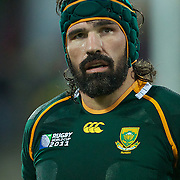 Victot Matfield, South Africa, in action during the South Africa V Australia Quarter Final match at the IRB Rugby World Cup tournament. Wellington Regional Stadium, Wellington, New Zealand, 9th October 2011. Photo Tim Clayton...