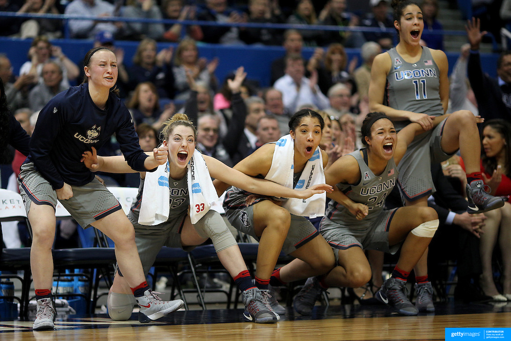 HARTFORD, CONNECTICUT- JANUARY 10: The UConn bench celebrate a fourth quarter basket from left, Tierney Lawlor #20, Katie Lou Samuelson #33, Gabby Williams #15, Napheesa Collier #24 and Kia Nurse #11 of the Connecticut Huskies in their record ninetieth win during the the UConn Huskies Vs USF Bulls, NCAA Women's Basketball game on January 10th, 2017 at the XL Center, Hartford, Connecticut. (Photo by Tim Clayton/Corbis via Getty Images)
