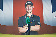Justin Rose of England at the 18th hole during the British Masters 2018 at Walton Heath Golf Course, Walton On the Hill, Surrey on 12 October 2018. Picture by Martin Cole.