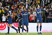 Adrien Rabiot (psg) scored a goal and celebrated it with Presnel Kimpembe (PSG), Daniel Alves da Silva (PSG), Thiago Motta Santon Olivares (psg) during the French championship L1 football match between Paris Saint-Germain (PSG) and Toulouse Football Club, on August 20, 2017, at Parc des Princes, in Paris, France - Photo Stephane Allaman / ProSportsImages / DPPI